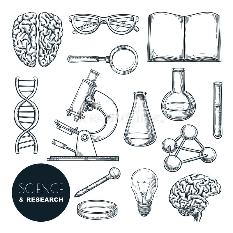 Vektorillustration för vetenskapslabb och kemi-forskning Isolerade handdragna ikoner för utbildning royaltyfri illustrationer
