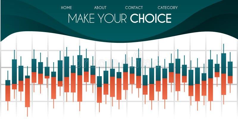 Vektorillustration för website Ljusstakediagram i finansmarknad med den gröna och vita bakgrundsforexen som handlar grafisk desig royaltyfri illustrationer