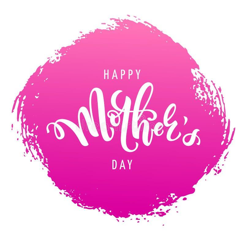 Vektorillustration für Muttertagesfeier mit handgeschriebener Beschriftung, Typografie und rosa Farbenbeschaffenheit Kalligraphie stock abbildung
