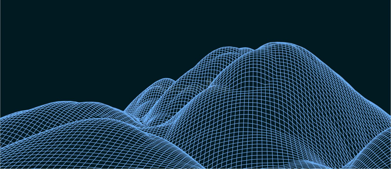 vektorillustration f?r teknologi 3d abstraktion Landskapdesign av berg royaltyfria bilder