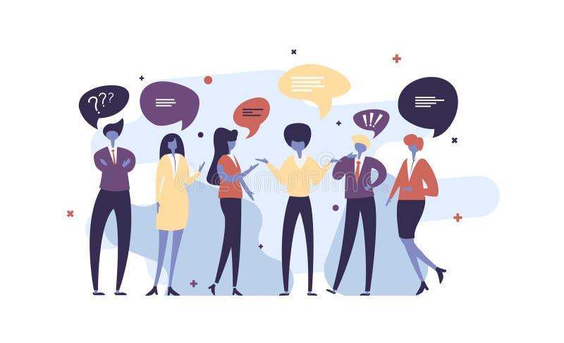 Vektorillustration, flache Art, Geschäftsmänner besprechen Soziales Netz, Nachrichten, soziale Netzwerke, Schwätzchen, Dialogrede lizenzfreie abbildung