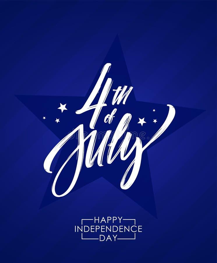 Vektorillustration: Hälsningaffisch med handbokstäver av fjärdedelen av Juli lycklig självständighet för dag stock illustrationer