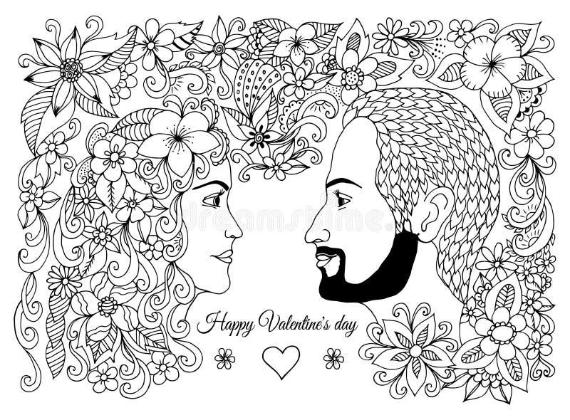 Vektorillustration, hälsningkort, valentin, förälskade par, man och kvinna i blommor Vektorteckning av konst som skapas av handen vektor illustrationer