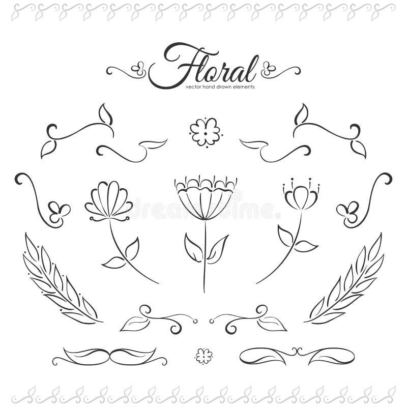 Vektorillustration: Hand gezeichneter Satz Florenelemente Skizzenlinie Design vektor abbildung