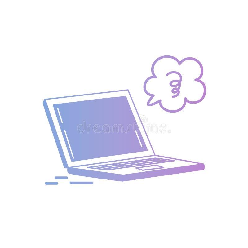 Vektorillustration: Hand-teckning isolerad bärbar dator i pastellfärgad färg på vit bakgrund vektor illustrationer