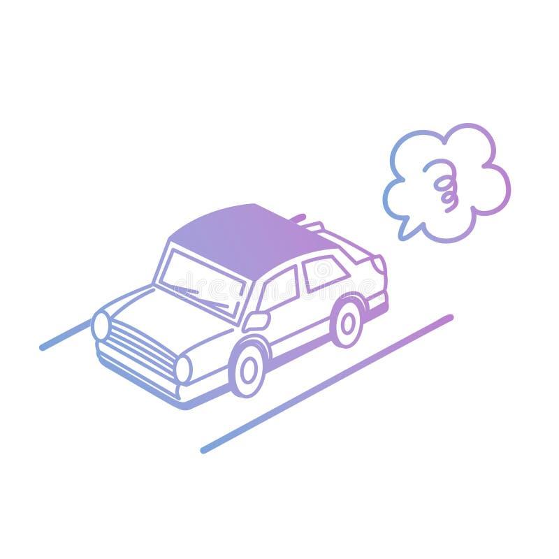 Vektorillustration: Hand-teckning isolerad bil i pastellfärgad färg på vit bakgrund stock illustrationer