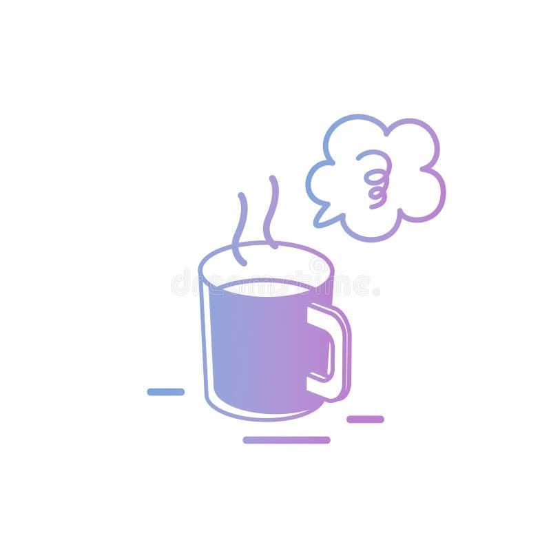 Vektorillustration: Hand-teckning isolerad kaffekopp i pastellfärgad färg på vit bakgrund stock illustrationer