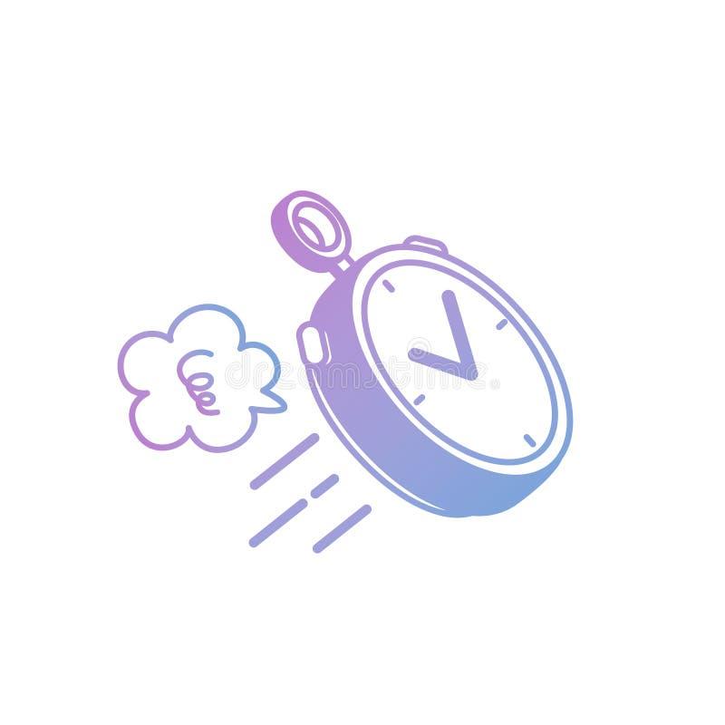 Vektorillustration: Hand-teckning isolerad klocka i pastellfärgad färg på vit bakgrund stock illustrationer