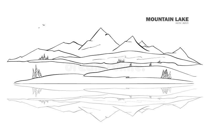 Vektorillustration: Handen drog berg sjön skissar landskap med sörjer och reflexionen stock illustrationer