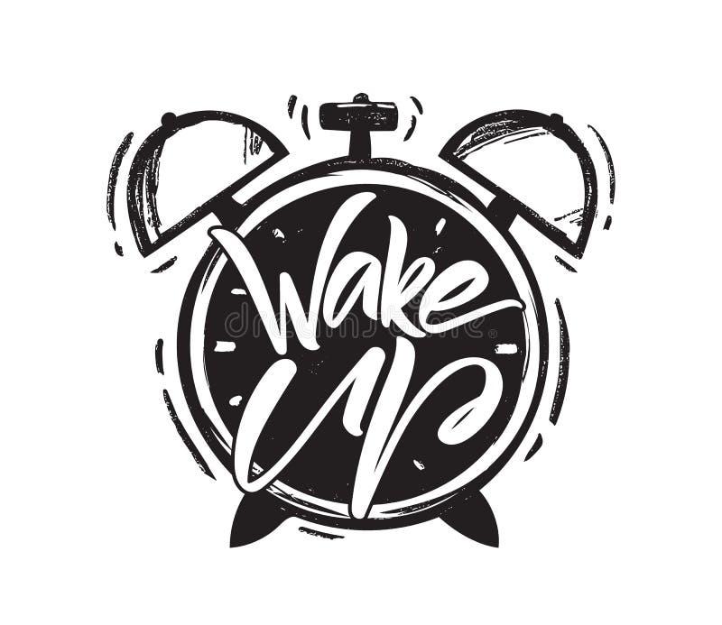 Vektorillustration: Handgeschriebenes Bürstenlettring von Wake Up mit Hand gezeichnetem Wecker auf weißem Hintergrund vektor abbildung