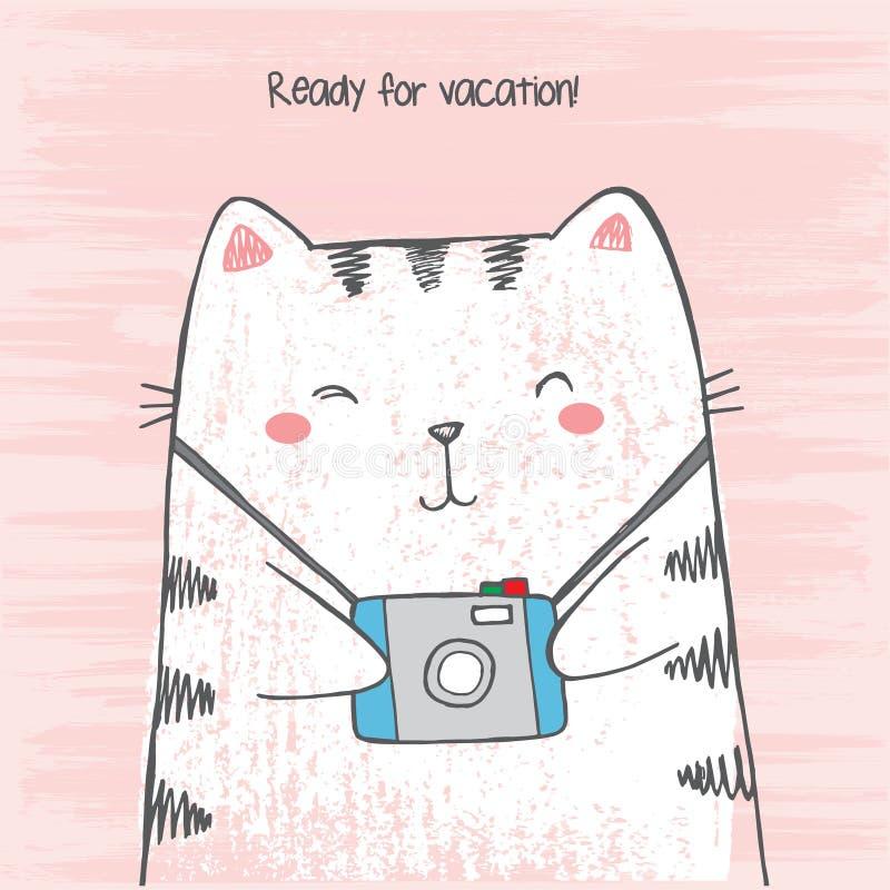 Vektorillustration Handgezogenes Skizze crtoon weißer Katze umarmt seine Fotokamera auf dem verkratzten Schmutzrosahintergrund, d stock abbildung