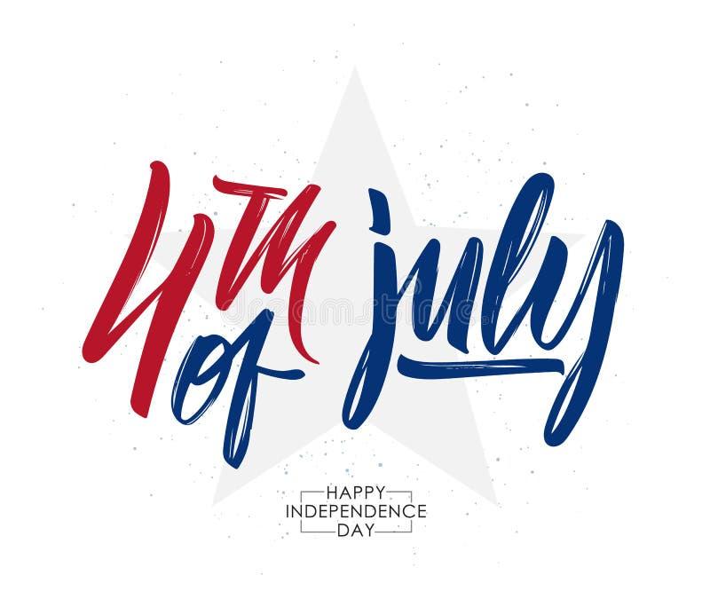 Vektorillustration: Handskriven bokstäversammansättning för calligraphic typ av 4th Juli lycklig självständighet för dag vektor illustrationer