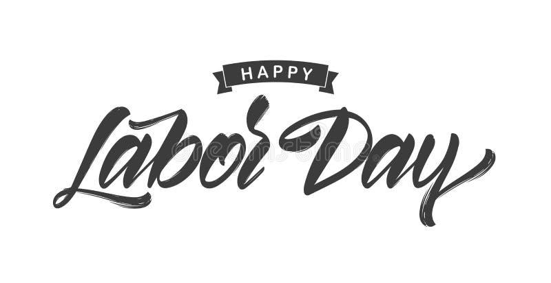 Vektorillustration: Handskriven borstetypbokstäver av den lyckliga arbets- dagen på vit bakgrund stock illustrationer