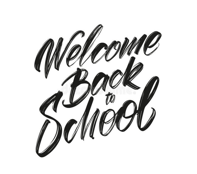Vektorillustration: Handskriven borstetypbokstäver av välkomnandet tillbaka till skolan royaltyfri illustrationer