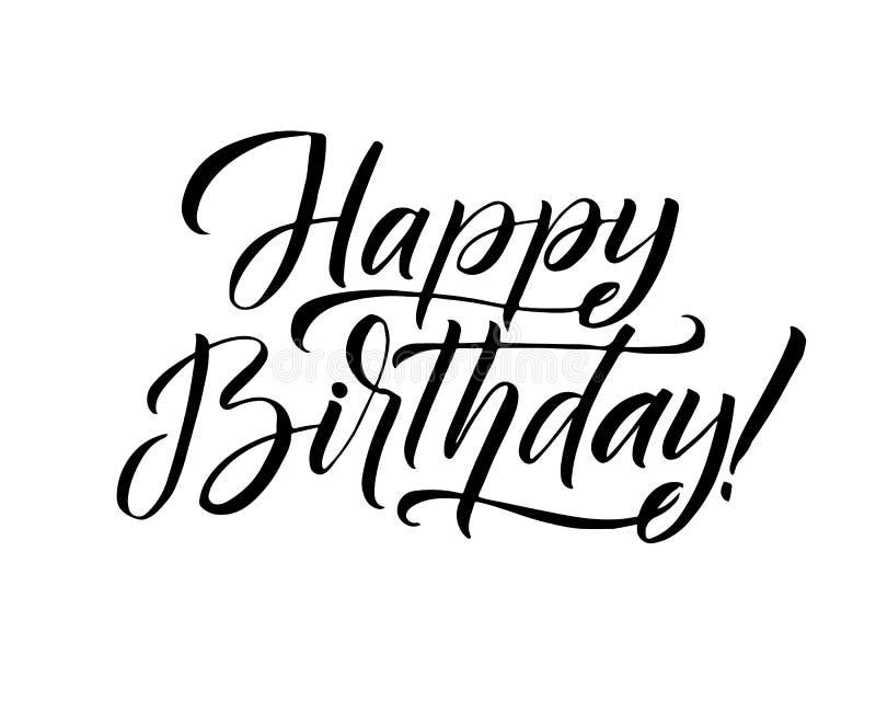 Vektorillustration: Handskriven modern borstebokstäver av den lyckliga födelsedagen på vit bakgrund Typografidesign royaltyfri illustrationer