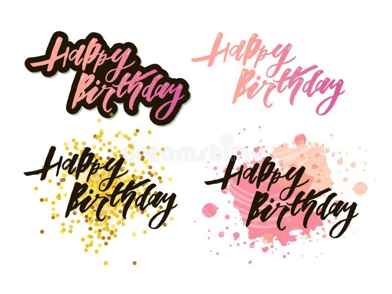 Vektorillustration: Handskriven modern borstebokstäver av den lyckliga födelsedagen på vit bakgrund Typografidesign runt om kortb vektor illustrationer