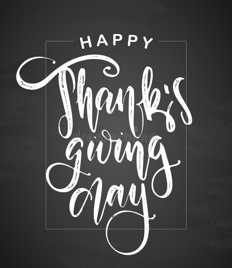 Vektorillustration: Handskriven texturerad bokstäver av den lyckliga tacksägelsedagen på svart tavlabakgrund vektor illustrationer