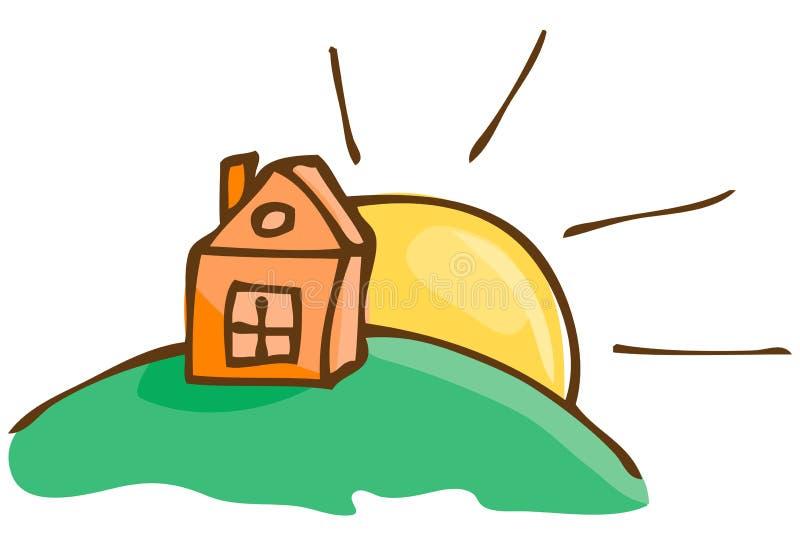 Vektorillustration. Haus auf dem Hügel lizenzfreie abbildung