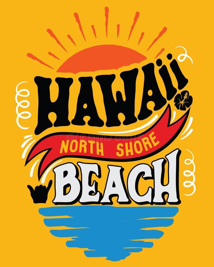 Vektorillustration Hawaii, norr kuststrand vektor illustrationer