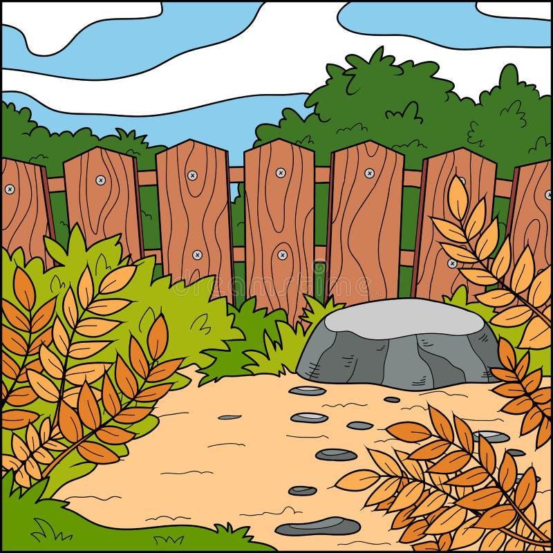 Vektorillustration, Hintergrund (Hinterhof und Zaun) lizenzfreie abbildung