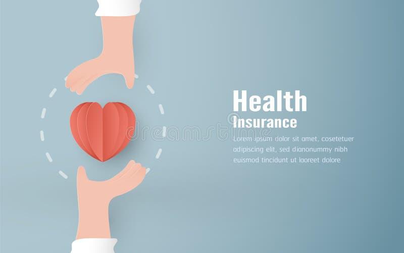 Vektorillustration i begrepp av sjukförsäkring Malldesignen är på pastellfärgad blå bakgrund för räkningen, rengöringsdukbanret,  stock illustrationer