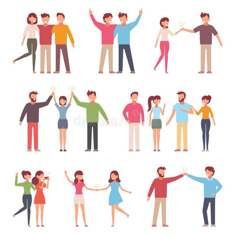 Vektorillustration i en plan stil av gruppen av lyckligt modefolk - bästa vänför evigt stock illustrationer