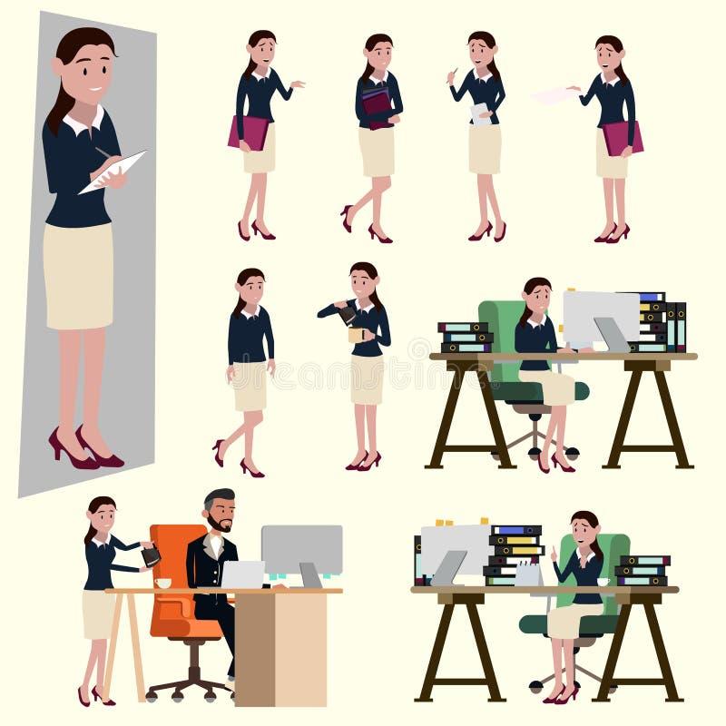 Vektorillustration i en plan stil av kontorslönkvinnan i arbetande likformig Många handling av den lyckliga kvinnan royaltyfri illustrationer