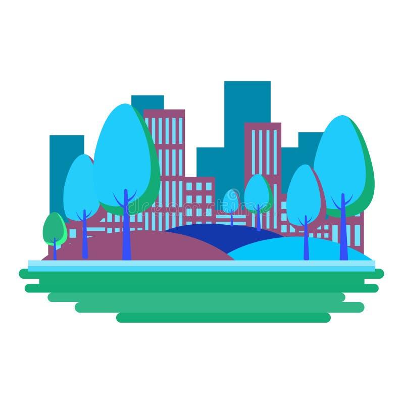 Vektorillustration i enkel minsta geometrisk plan stil - stadslandskap med byggnader, kullar och träd - abstrakt bakgrund royaltyfri illustrationer