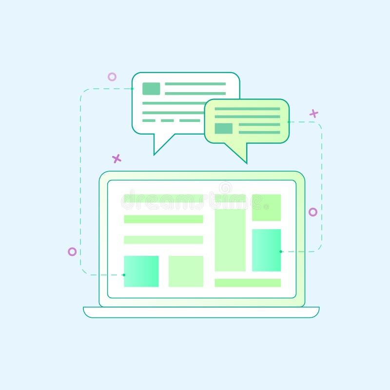 Vektorillustration i plan översiktsstil Begreppet för den grafiska designen av bärbara datorn och webbsidan planlägger royaltyfri illustrationer
