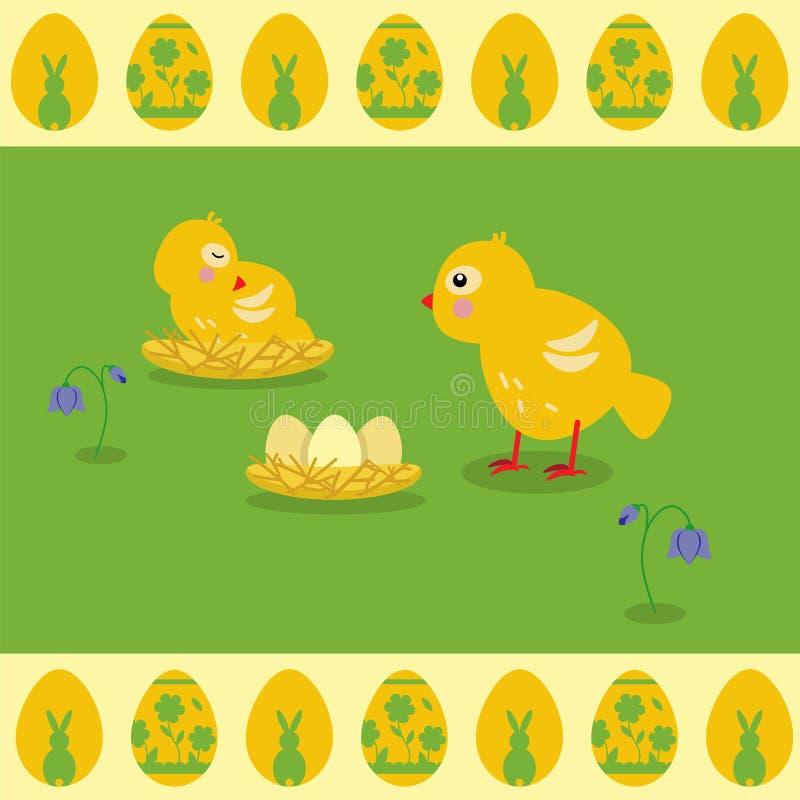 Vektorillustration i plan stil Gläntas rede och gula fågelungar royaltyfri illustrationer