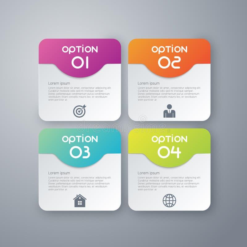 Vektorillustration infographics vier gerundetes Rechteck lizenzfreie abbildung