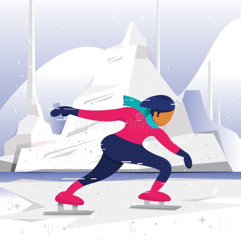 Vektorillustration - isskateboradåkare som tycker om den festliga säsongen för vinter sommar för natur för caucasus dombailiggand stock illustrationer