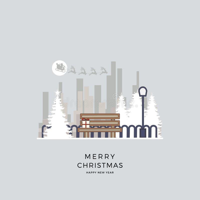 Vektorillustration jul av cityscape Vinterbakgrund parkerar i tecknad filmstil arkivbilder