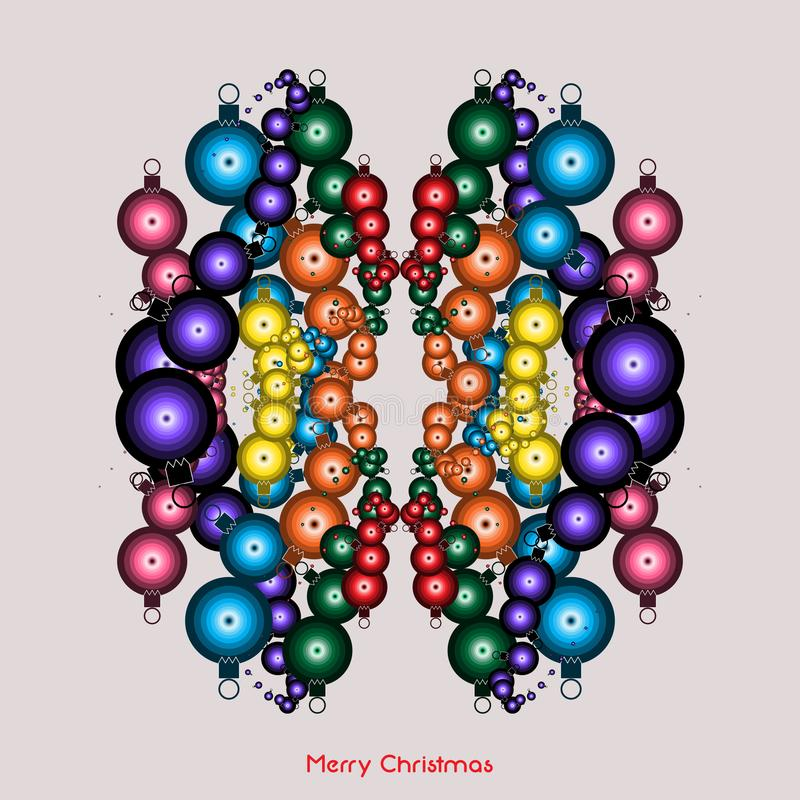 Vektorillustration: julklappar, färgstarka dekorationskulor, hälsande säsongsbetonat konstnärligt kort royaltyfri illustrationer