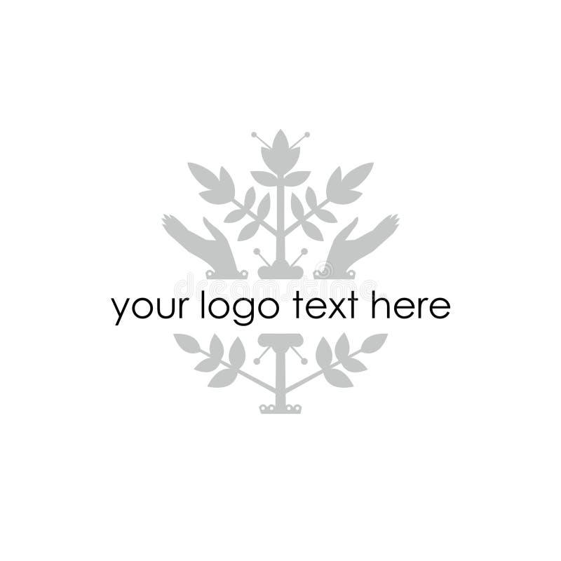 Vektorillustration - kontur av växten och händer Mellanrum för logo royaltyfri illustrationer