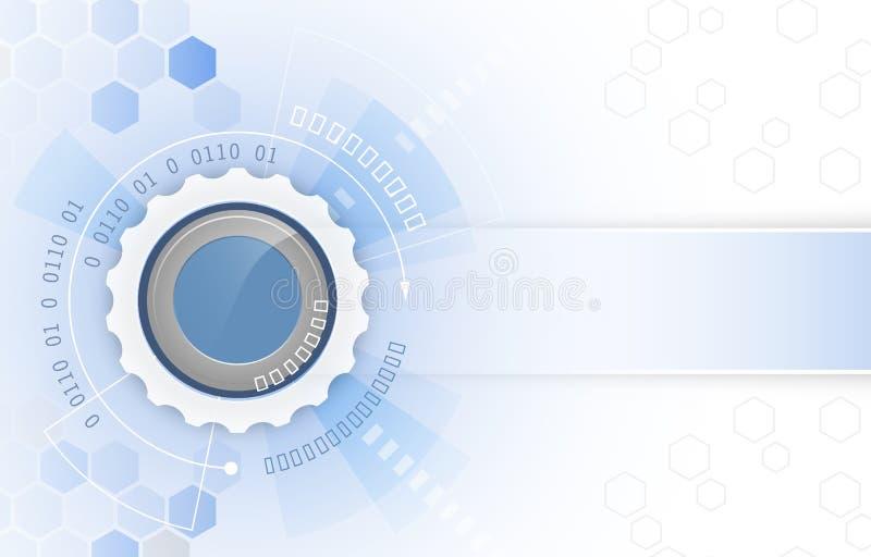 Vektorillustration, kugghjulhjul, pilar och sexhörningsmodell Abstrakt futuristisk högteknologisk bakgrund för digital teknologi stock illustrationer