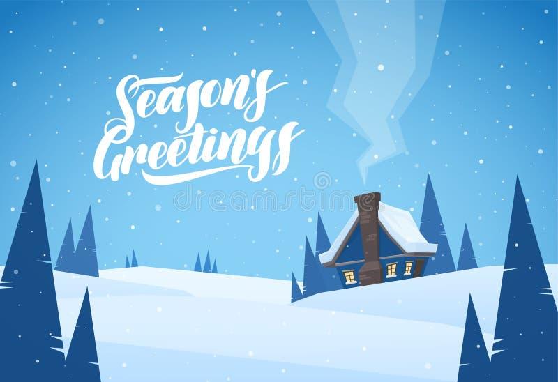 Vektorillustration: Landskap för tecknad filmvinterjul med kabinen och handskriven bokstäver av säsongs hälsningar stock illustrationer