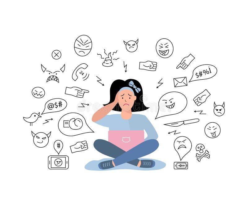 Vektorillustration, ledsen tonårs- flicka Cyberbullying som fiska med drag i royaltyfri illustrationer