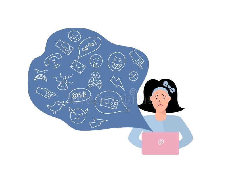 Vektorillustration, ledsen tonårs- flicka Cyberbullying som fiska med drag i begrepp royaltyfri illustrationer