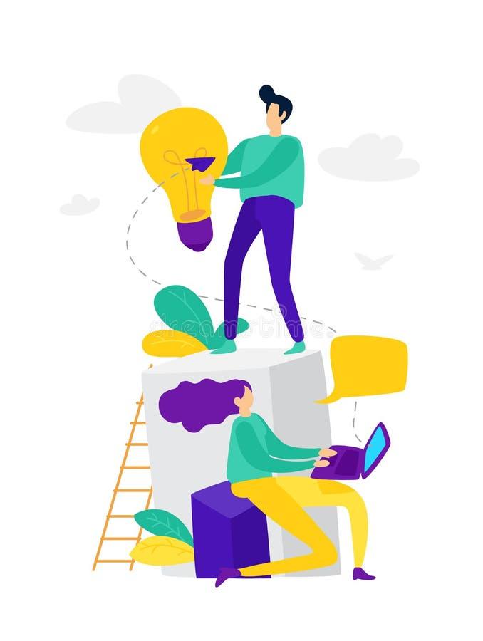 Vektorillustration, on-line-Assistent bei der Arbeit, on-line-Förderung, Fernarbeitsmanager, Suche nach neuen Ideen, Teamwork in  vektor abbildung