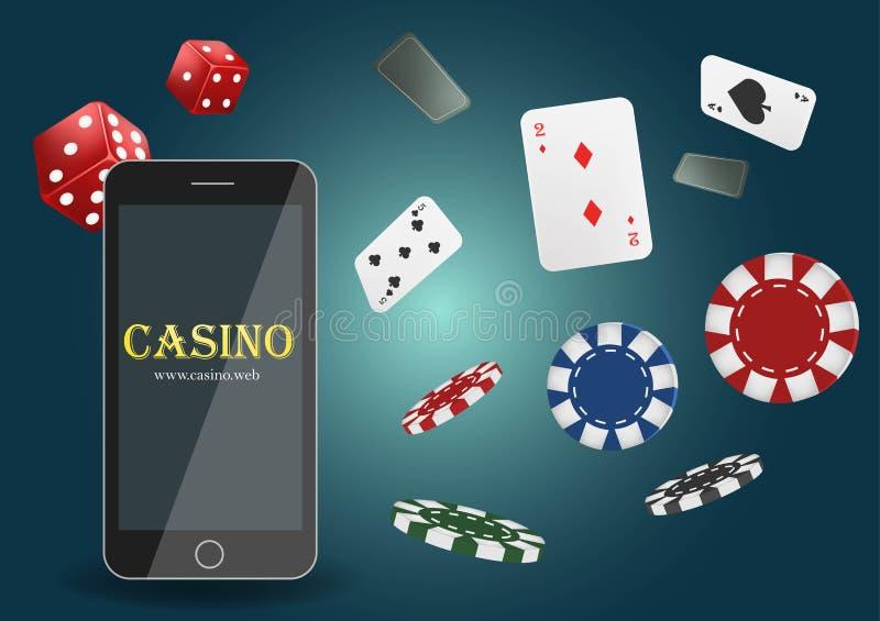 Vektorillustration on-line-Schürhaken-Kasinofahne mit einem Handy, Chips, Spielkarten und einem Würfel Vermarktender Luxusfahnen- lizenzfreie abbildung