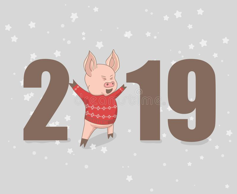 Vektorillustration, lustiger Kartenentwurf des guten Rutsch ins Neue Jahr 2019 mit Karikaturschwein lizenzfreie abbildung