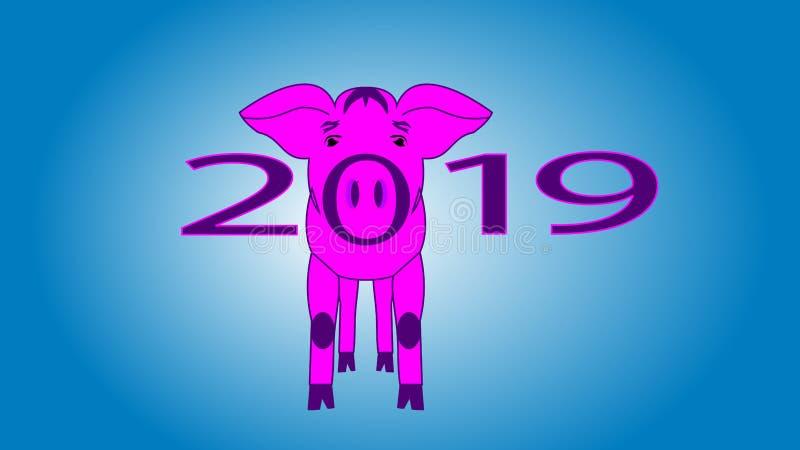 Vektorillustration, lustiger Kartenentwurf des guten Rutsch ins Neue Jahr 2019 mit Karikaturschwein stock abbildung