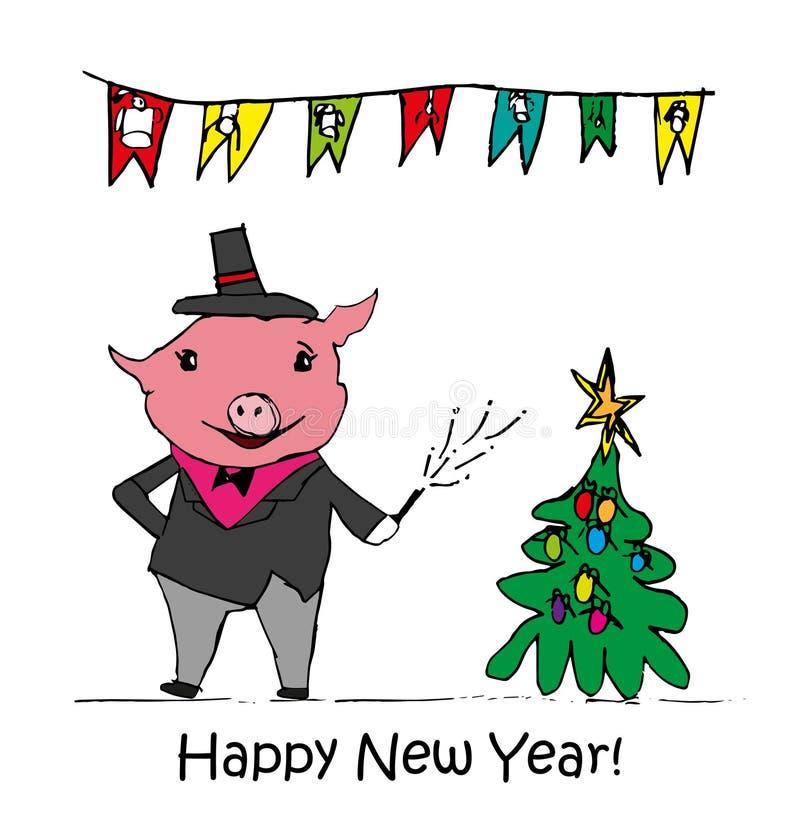 Vektorillustration, lustiger Kartenentwurf des guten Rutsch ins Neue Jahr 2019 mit Karikaturschweindruck Frohe Weihnachten vektor abbildung