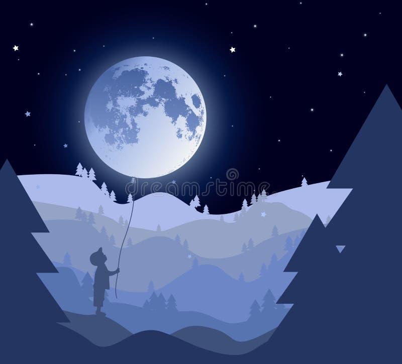 Vektorillustration: Märchenlandschaft mit kleinem Jungen lizenzfreies stockbild