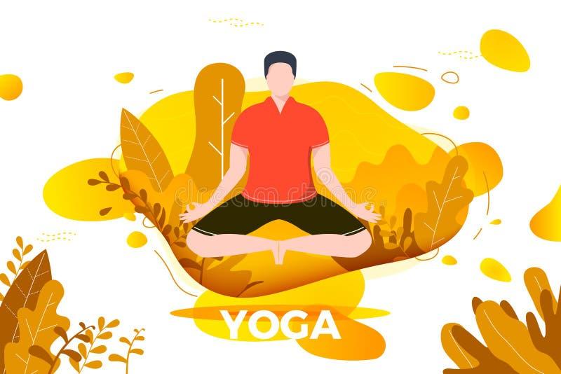 Vektorillustration - mannen i yogalotusblomma poserar royaltyfri illustrationer