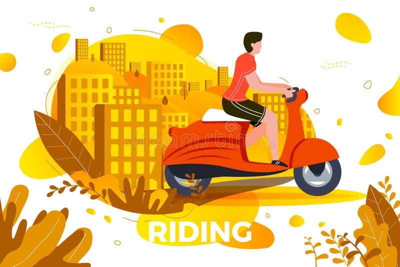 Vektorillustration - manridning på mopeden stock illustrationer
