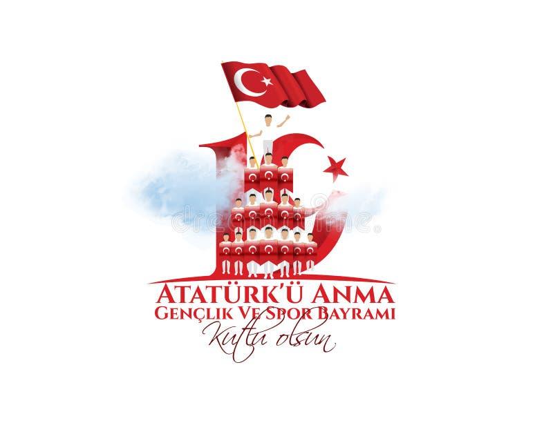 Vektorillustration 19 mayis Ataturk 'u Anma, Genclik VE Spor Bayramiz vektor abbildung