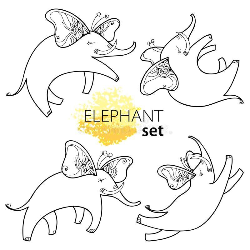 Vektorillustration med översiktsflygelefanten med fjärilsvingar som isoleras på vit bakgrund Ställ in med tecknad filmelefanter vektor illustrationer