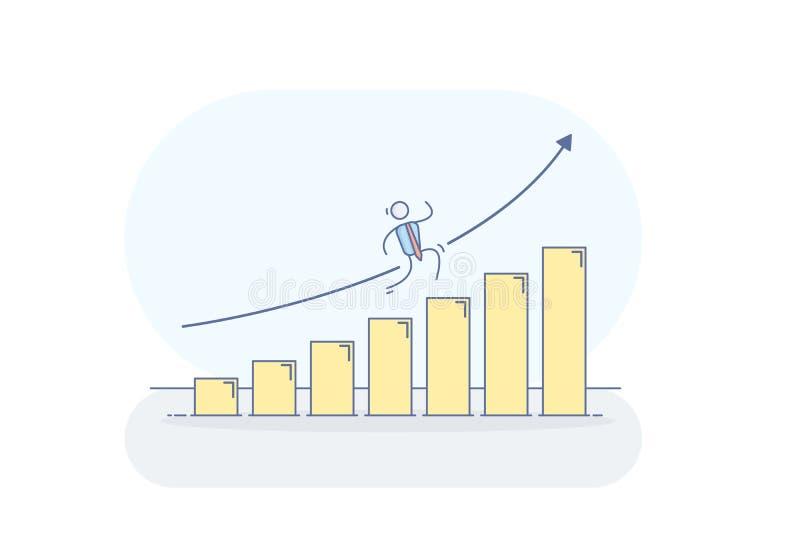 Vektorillustration med affärsmanteckenet som klättrar ett diagram som håller att växa som en stege till framgång stock illustrationer